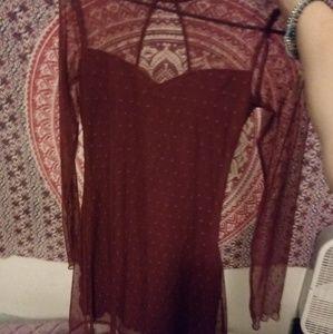 Red polka dot mesh sweetheart dress
